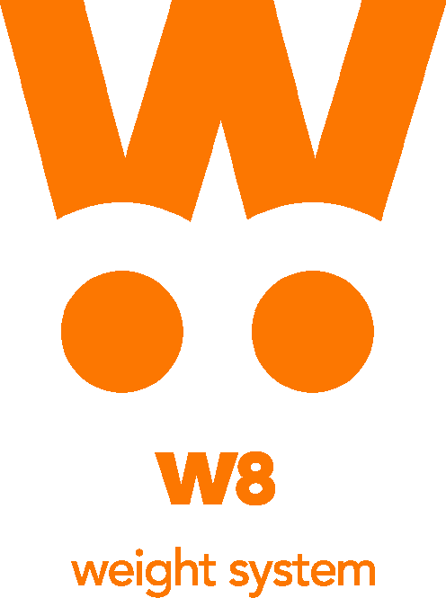 W8 logo scritte orange